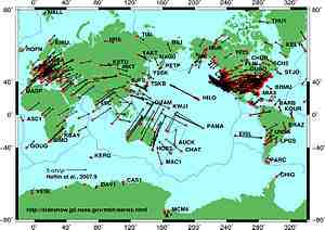 GPS measured global plate motion. Source: Wikipedia commons