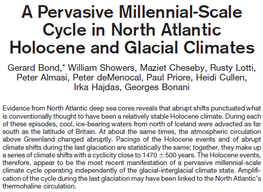 A Pervasive Millennial-Scale Cycle in North Atlantic Holocene and Glacial ClimatesBond, G.; et al. – 1997http://rivernet.ncsu.edu/courselocker/PaleoClimate/Bond%20et%20al.,%201997%20Millenial%20Scale%20Holocene%20Change.pdf