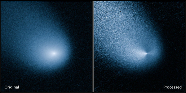 Hubble image of comet C/2013 A1 (Siding Spring), before and after processing. Credit: NASA, ESA, and J.-Y. Li (Planetary Science Institute)