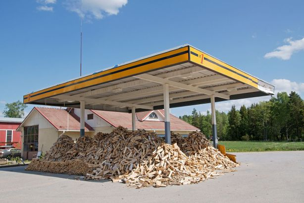 Former petrol station selling wood for burning