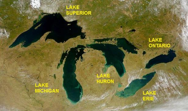 Satellite view of the Great Lakes [image credit: Wikipedia]