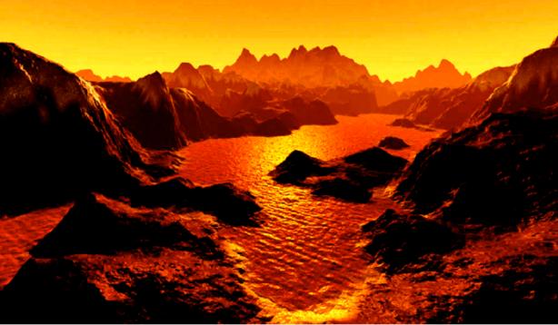 A methane lake laps the ice mountains of Titan. Huygens probe 2005.