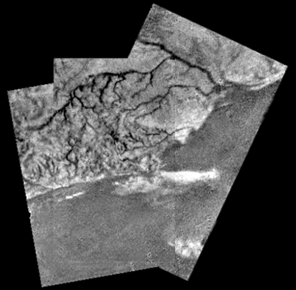 Rivers running into a sea of methane. Taken from 8km by Huygens probe descending to Titan 2005