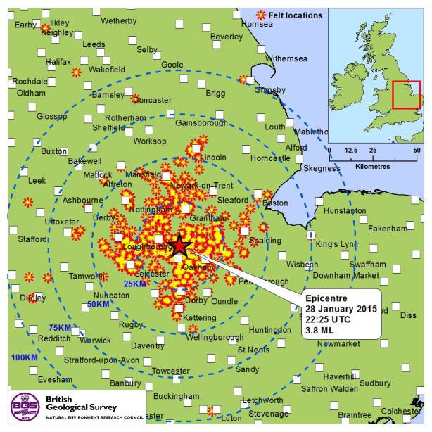 Map showing where the tremor was felt (Picture: British Geological Survey)