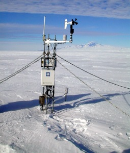 Weather station [image credit: Peter West/National Science Foundation]