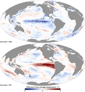 Maps of sea surface temperature anomaly [credit: NOAA]