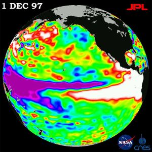 Sea surface height relative to normal ocean conditions on Dec. 1, 1997 [image credit: NASA/JPL]