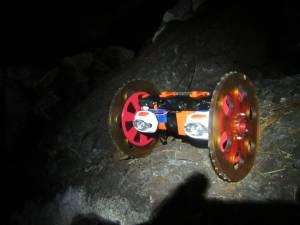 NASA/JPL's VolcanoBot 1, shown here in a lava tube [Credits: NASA/JPL-CalTech]