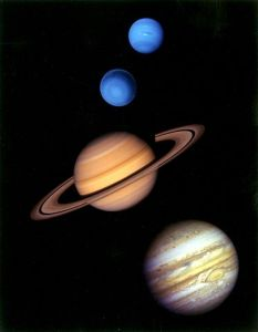 Neptune (top), Uranus, Saturn, Jupiter (bottom)