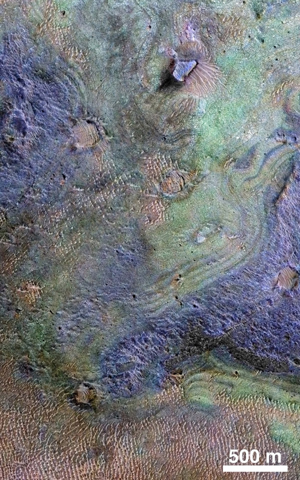 This view combines information from two instruments on NASA's Mars Reconnaissance Orbiter to map color-coded composition over the shape of the ground in a small portion of the Nili Fossae plains region of Mars' northern hemisphere. This site is part of the largest known carbonate-rich deposit on Mars. In the color coding used for this map, green indicates a carbonate-rich composition, brown indicates olivine-rich sands, and purple indicates basaltic composition. Image credit: JPL