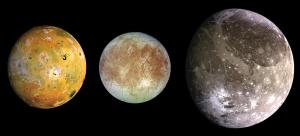 Io, Europa and Ganymede - three of Jupiter's four Galilean moons