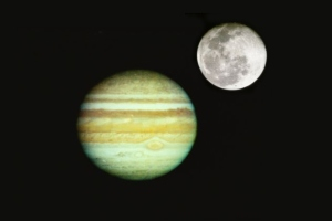 Jupiter and the Moon - not to scale of course [image credit: IBNLive]