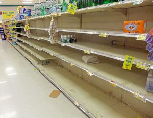Empty supermarket shelves before Hurricane Sandy [credit: Wikipedia]