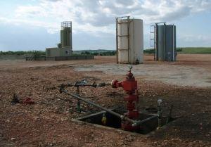 Hydraulic fracturing wellhead  [image credit: Joshua Doubek / Wikipedia]