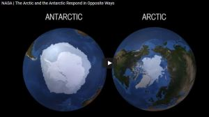 Antarctic sea ice reached a record maximum extent while the Arctic reached a minimum extent in the ten lowest since satellite records began. Why are these trends going in opposite directions? Credits: NASA Goddard Space Flight Center/Joy Ng