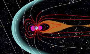 Near Earth's magnetic poles, some of Earth's magnetic field - shown as red in this diagram - loops out into space and connects back to Earth. But some of Earth's polar magnetic field connects directly to the sun's magnetic field, shown here in white. [credit: NASA}