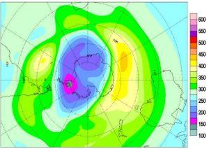 Ozone hole over Antarctica (Nov. 2014) [image credit: theozonehole.com]