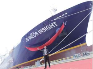 The launch of the Ineos Insight Dragon shale supertanker2 [image credit:  scottishenergynews.com]