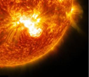 Solar flare erupting from a sunspot [image credit: space.com]