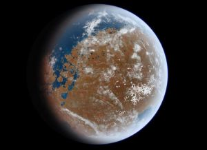 Ancient Mars may have looked like this - artist's impression [credit: Ittiz / Wikipedia]