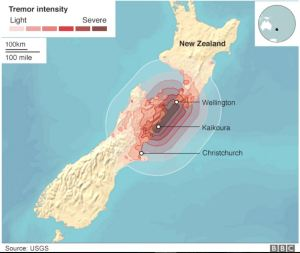 Region of most recent New Zealand earthquakes [credit: BBC]